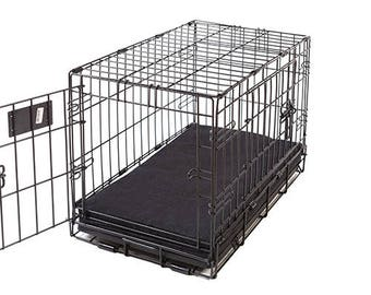 Charcoal Denim Memory Foam Crate Crate Pads for Dogs with Waterproof Liner