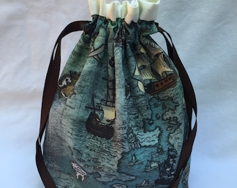 Pirate Map Single Skein Project Bag