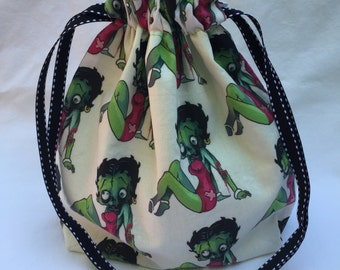 Zombie Betty Boop Single Skein Project Bag