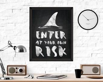 Shark Print, Enter at Your own Risk Wall Art, Chalkboard Printable Art, Chalk Print, Kids Room, INSTANT DOWNLOAD wp374