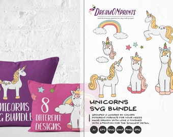Unicorns SVG Bundle, Unicorn SVG Cut Files Svg, Unicorn Cut Files Svg Rainbow Dxf, Svg Files for Cricut, Silhouette Cutting Machines