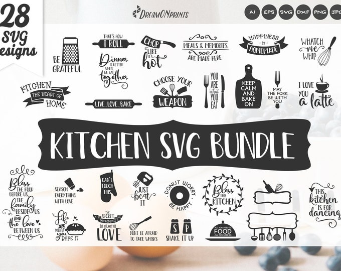 Featured listing image: Kitchen SVG BUNDLE | Food Svg Bundle | Kitchen Signs | Kitchen Quotes SVG Vectors