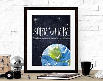 Planet Earth Print, Space Print, Galaxy Printable, Boys Room Decor, Chalkboard & Watercolor Art Print, Inspirational Quote, Kids Art WP364