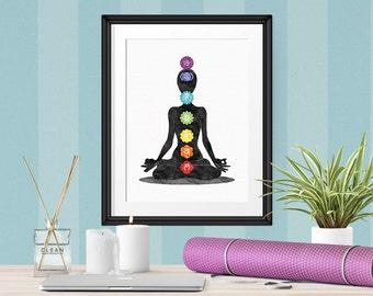 Yoga Poster, Chakra Print, Spiritual Poster, Feng Shui, Chakra Meditation Wall Art, Reiki Art, Yoga Studio Decor, Rainbow Chakra Art wp690