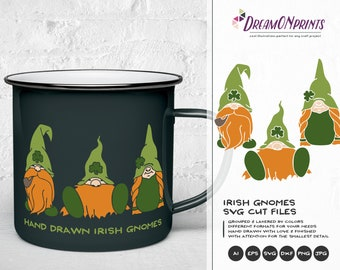 Irish Gnomes SVG, St Patricks Day, St Patty SVG, Shamrock Svg Cutting Files for Cricut, Silhouette, Htv Svg DOP190