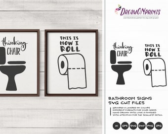 Bathroom Signs SVG | Bathroom Svg, Dxf, Eps, Png, Sign Making Svg Files for Cutting and Printing DOP388