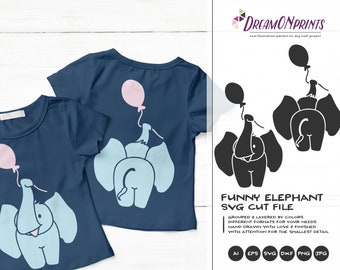 Elephant Svg Balloon Svg, Elephant Butt Kids SVG, Cute Svg Cut File, Nature, Animals Svg DXF for Cricut, Silhouette Cutting Machines DOP232