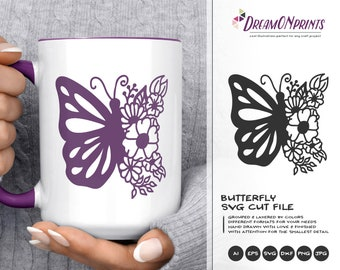 Butterfly   SVG Cut File | Mandala SVG | Zentangle
