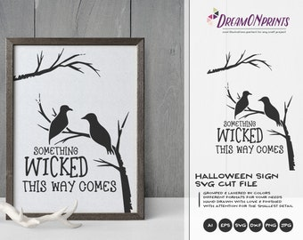 Halloween Sign SVG Forest Birds | Halloween Quote SVG