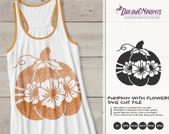 Fall Pumpkin with Flowers SVG | Autumn Design