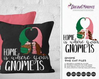 Love Gnomes SVG, Couples Svg Home Svg Gnomes SVG, Valentines Day SVG Garden Gnome Svg, Dxf for Cricut, Silhouette Cutting Machines DOP044