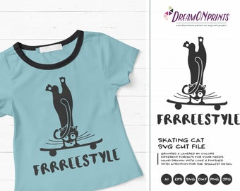 Cat SVG Fun Cat Svg, Skater Svg, Skating Svg Freestyle, Pets SVG, Shirt Design, Svg  Files for Cricut, Silhouette Cutting Machines DOP104