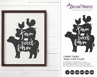 Farm Sweet Farm Svg, Farmhouse Sign SVG, Farm Animals Svg Cut File, Sign Making Svg Files for Cutting and Printing DOP276