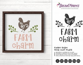 Farm Charm Svg, Chicken Svg, Hen Svg Cut Files, Farm Animals Svg Cut File, Farm House Svg Files for Cutting and Printing DOP279