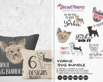 Yorkie SVG Bundle, Yorkshire Terrier SVG Cut Files, Pets Bundle Svg, Dogs SVG, Dxf, Svg Files for Cricut, Silhouette Cutting Machines