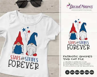 Stars and Stripes Forever | Patriotic Gnomes SVG | Independence Day | 4th of July