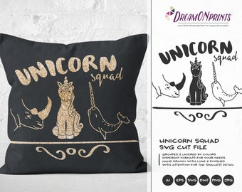 Unicorn Squad SVG, Unicorn Svg Rhino SVG Narwhal Svg, Rhinoceros Svg, Unicorn of the Sea, Unicorn Cut files DOP127