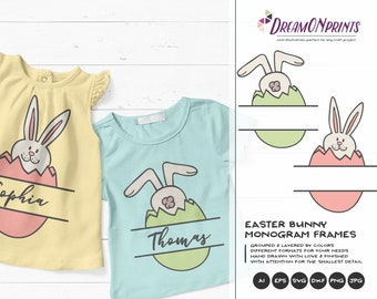 Easter Bunny Monogram Frame SVG Funny Easter Svg Cut Files, Bunny SVG Easter, DXF, Svg for Silhouette, Svg for Cricut Cut Files DOP198
