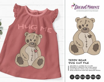 Teddy Bear SVG, Bear SVG Files, Toys svg Stuffed Animals, Kids SVG Cutting Files for Cricut Explore, Silhouette and More DOP011
