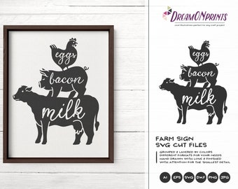 Farmhouse Sign SVG, Fresh from Our Farmhouse Svg, Farm Animals Svg Cut File, Sign Making Svg Files for Cutting and Printing DOP269