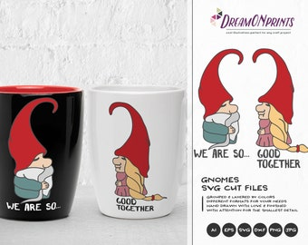 Love Gnomes SVG, Couples Svg Wedding Svg Gnomes SVG, Valentines Day SVG Garden Gnome Svg, Dxf for Cricut, Silhouette Cutting Machines DOP041