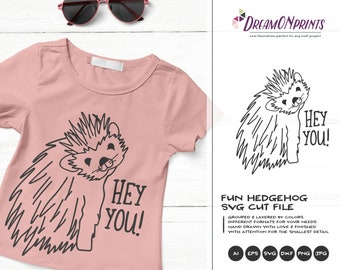Hedgehog SVG Funny Hedgehog, Kids SVG, Forest Animals Svg Cute Wild Svg Cut File, Nature Svg DXF Files for Cricut or Silhouette DOP367