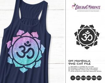 Om Mandala SVG | Yoga Cut Files | Yoga SVG | Om SVG