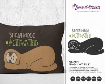 Sloth Mode SVG, Sloth SVG Cut Files, Animals SVG, Lazy Svg for Cricut Explore, Svg for Silhouette DOP025