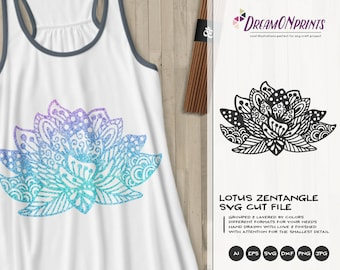 Lotus Zentangle SVG Cut File | Mandala SVG