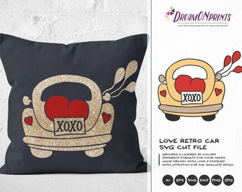 XOXO Svg, Love SVG, Hugs and Kisses SVg, retro Car Svg VW Beetle Svg,  Heart Svg, Married Svg for Cricut, Svg for Silhouette DOP154