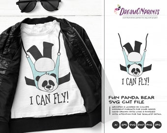 Yoga Panda SVG | Funny Yoga Svg | Aerial Yoga SVG | I Can Fly