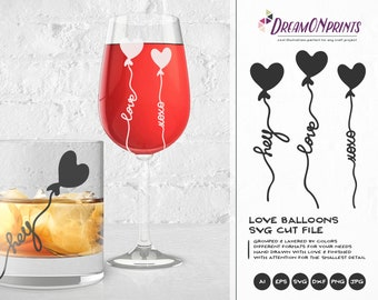 Love Words Svg, Love Balloon Svg, Love SVG, Hugs and Kisses SVg, Heart Svg, Wedding Svg for Cricut, Svg for Silhouette DOP156