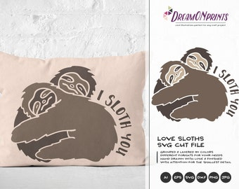 I Sloth You SVG, Sloth SVG Cut Files, I Love You Svg Valentine's Day Svg Animals SVG, Lazy Svg for Cricut Explore, Svg for Silhouette DOP132