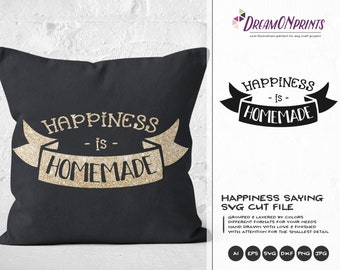 Happiness is Homemade SVG, Kitchen SVG, Kitchen Sign Svg, Apron Svg Designs, Sign Making Cooking svg Cricut Explore DOP295