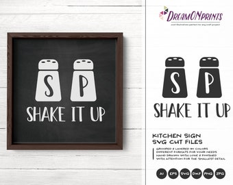 Kitchen SVG, Salt and Pepper Svg, Shake it Up Svg, Kitchen SVG, Apron Svg Designs, Sign Making Cooking svg Cricut Explore DOP306
