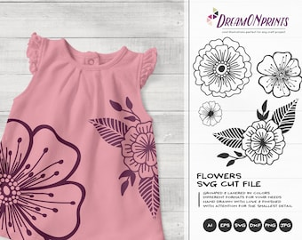 Flowers SVG Cut Files| Flower Illustrations