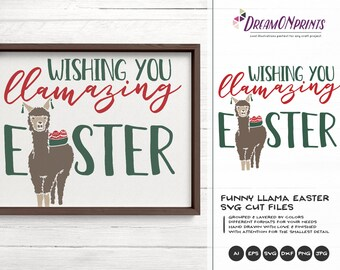 Llama SVG Easter Svg, Funny Easter Svg Drama Llama Svg, Llove you Llots DXF Files for Cricut, Silhouette Cutting Machines DOP236