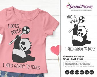 Hocus Pocus Panda SVG | Cute Halloween Illustration | Kids Shirt SVG
