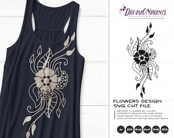 Flowers Design  SVG Cut File | Tattoo  SVG Vector