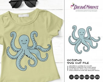 Octopus Design SVG| Funny Kids Design | Sea Life SVG