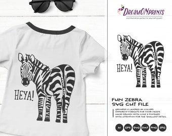 Zebra SVG Funny Zebra, Kids SVG Heya, Cute Wild Svg Cut File, Nature, Animals Svg DXF Files for Cricut, Silhouette Cutting Machines DOP338
