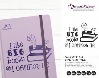Bookworm SVG  | Book Nerd Svg | School Svg Cut File | Reading SVG | I Like Big Books svg