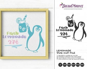 Fresh Lemonade SVG Penguin | Funny SVG Cut File