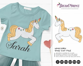 Unicorn SVG, Unicorn Cut File Svg, Vector Unicorn SVG, DXF, Girls Svg for Silhouette, Svg for Cricut Cut Files DOP018