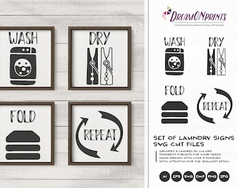 Laundry Signs SVG Set of 4  | Wash, Dry, Fold, Repeat
