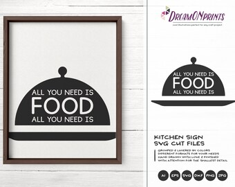 All You Need is Food SVG, Kitchen SVG, Kitchen Sign Svg, Apron Svg Designs, Sign Making Cooking svg Cricut Explore DOP214