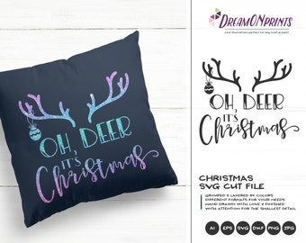 Christmas Deer SVG Antlers | Oh Deer It's Christmas Cut Files | Cute Winter Design