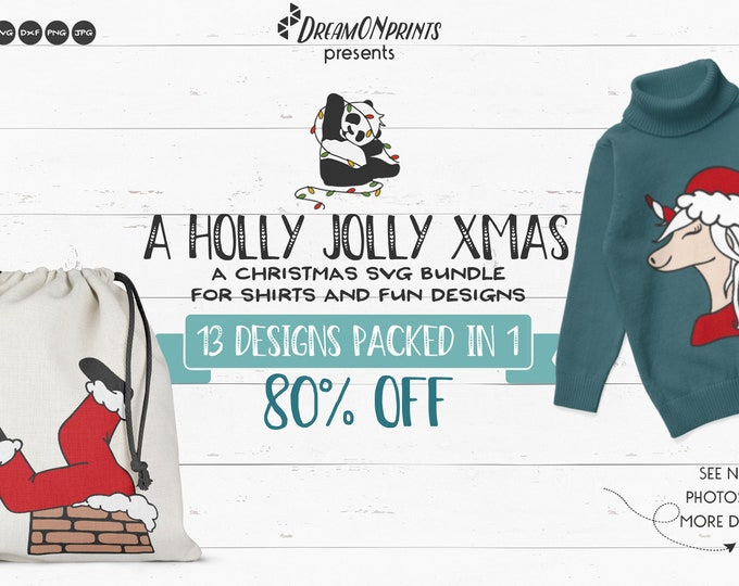 Featured listing image: Funny Christmas SVG Bundle | Holly Jolly Xmas | Gnome SVG | Unicorn SVG