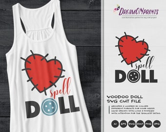 Voodoo Doll Heart SVG | Spell Doll cut File |  Heart SVG Design