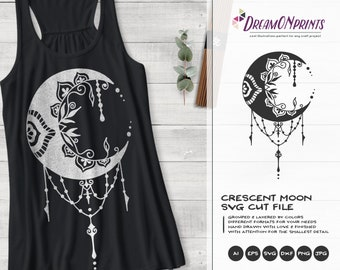 Crescent Moon SVG | Zentangle SVG | Halloween SVG Cut File